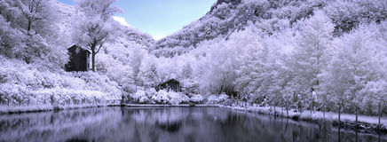 Infrared landscapes. Is a landscape of lake of mountain , the photo is a make with infrared tecnic Royalty Free Stock Images