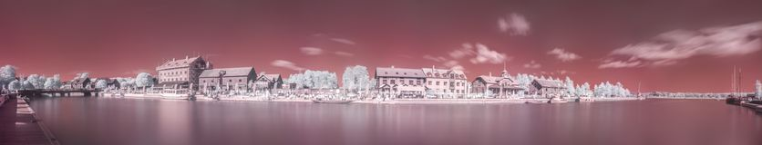 Infrared Panorama Of Nyköpings Harbour Royalty Free Stock Photos