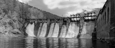 Infrared photo in B&W. Hydroelectric power station 'Thresholds': the panorama of the dam below the spillway. stock photo
