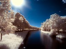 Infrared Photo of Canal. Summer at the Djurgårdsbrunns Canal Royalty Free Stock Image