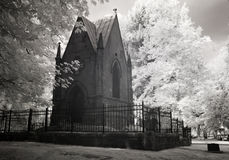 Infrared Photo of a Cemetery and Mausoleum Royalty Free Stock Image