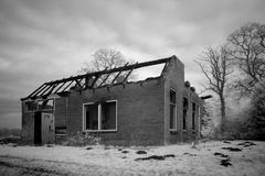 Infrared photo of dilapidated building Stock Photo