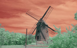 Infrared photo of oldest operating windmill in USA Stock Photo