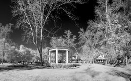 Infrared photo of park and gazebo Royalty Free Stock Photography