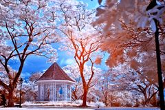 Infrared Photo of a Shed in the Park Royalty Free Stock Images