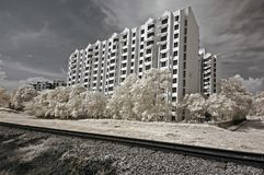 Infrared Photo- Tree, Building And Train Track Royalty Free Stock Image