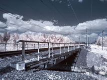 Infrared photograph. Bridge Stock Images