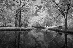 Infrared photography black and white, Vachirabenjatas Park, land mark of Bangkok, Thailand. `Vachirabenjatas Park` also know as `Rot Fai Park` is one of the Stock Photo