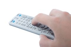 Infrared remote control unit in hand Royalty Free Stock Photography