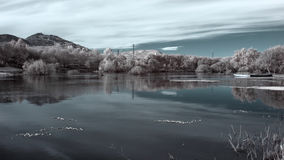 Infrared river landscape Royalty Free Stock Photos