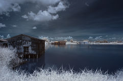 Infrared rustic house Stock Photo