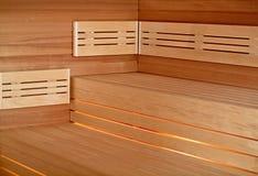 Infrared sauna cabin. Wood interior Royalty Free Stock Image