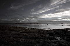 Infrared seascape at dusk Royalty Free Stock Photo