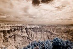 Infrared shot of badlands stock images