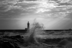 Infrared stormy seascape stock photo