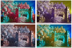 Infrared summer house Stock Image