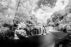 Infrared Tad Pha Suam Waterfall Royalty Free Stock Image
