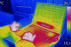 Infrared thermography image showing the heat emission Royalty Free Stock Photo