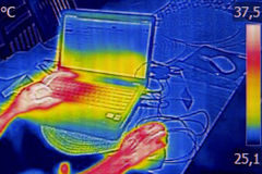 Infrared thermography image showing the heat emission Royalty Free Stock Photography