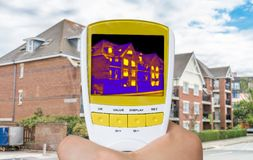 Infrared thermovision image showing thermal insulation of house.  royalty free stock photography