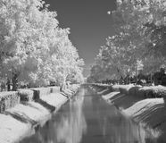 Infrared water-distribution canal Stock Image