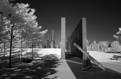 Infrared wizerunek 911 pomnik i lower manhattan Obrazy Royalty Free
