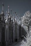 Infrarode oude Europese begraafplaats stock foto's