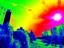 Infrarode zonnige stad Stock Fotografie