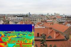 Infrarood en echt beeldpanorama van Zagreb Stock Foto's