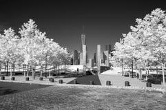 Infrarotbild des Lower Manhattan und des Denkmals 911 Stockbild