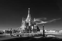 Infrarotfoto: St- Michaelkathedrale in Izhevsk, Udmurtien Stockfotos