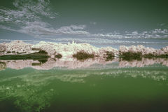 Infrarotlandschaft im Sommersonnenuntergang über See Stockfotos