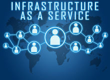 Infrastructure as a Service. Concept on blue background with world map and social icons Royalty Free Stock Image
