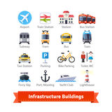Infrastructure Buildings Flat Icon Set Stock Photo