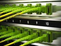Infrastructure en réseau, connexions d'optique des fibres Photographie stock