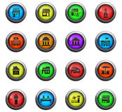 Infrastructure icon set. Infrastructure icons on color round glass buttons for your design Royalty Free Stock Image