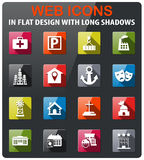 Infrastructure icon set. Infrastructure icons set in flat design with long shadow Royalty Free Stock Photos