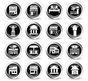 Infrastructure icon set. Infrastructure icons on stylish round chromed buttons Royalty Free Stock Photo