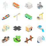 Infrastructure Icons set. In isometric 3d style  on white Stock Photo