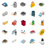 Infrastructure icons set, isometric style Stock Images