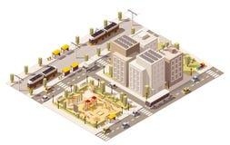 Infrastructure isométrique de ville de banlieusard de vecteur basse poly Photo stock