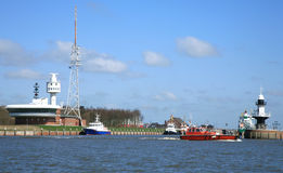 Infrastructure Of The Entry To The Kiel Canal Stock Image