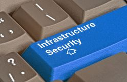 Infrastructure security. Keyboard with key for infrastructure security Royalty Free Stock Photo