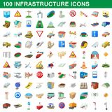 100 infrastructure set, cartoon style. 100 infrastructure set in cartoon style for any design illustration vector illustration