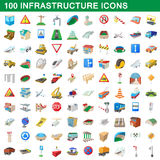 100 infrastructure set, cartoon style. 100 infrastructure set in cartoon style for any design vector illustration Royalty Free Stock Image