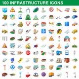 100 infrastructure set, cartoon style Royalty Free Stock Image