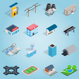 Infrastructure set icons, isometric 3d style Stock Photo