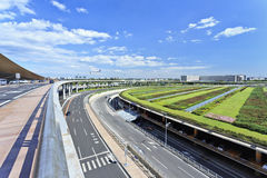 Infrastructuur rond de Hoofdluchthaven van Peking. stock fotografie