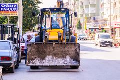 Infrastruktur arbetar i turkisk stad Arkivfoton