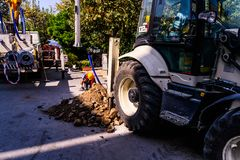 Infrastruktur arbetar i turkisk stad Arkivfoto